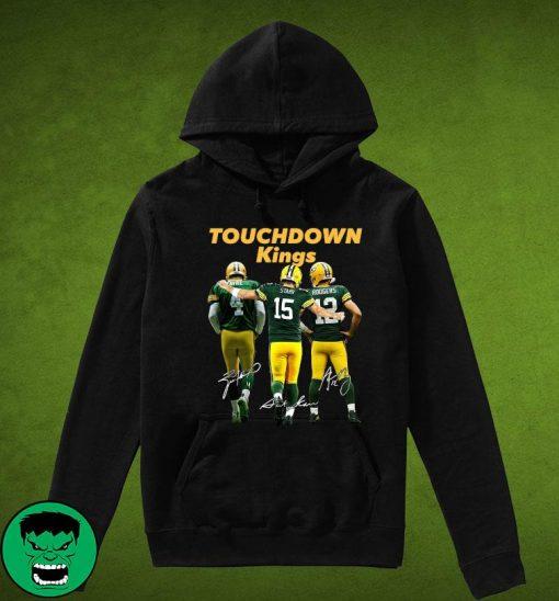 Official Green Bay Packers Touchdown Kings Brett Favre 4 Bart Starr 15 Aaron Rodgers 12 Signatures T-Shirt Hoodie