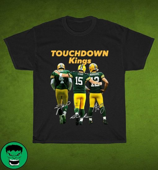 Official Green Bay Packers Touchdown Kings Brett Favre 4 Bart Starr 15 Aaron Rodgers 12 Signatures T-Shirt